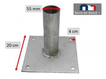 Platine pour tube de serre de 60mm.